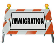 Immigration Word Barricade Sign Refugee Crisis Emergency Royalty Free Stock Photography