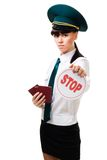 Immigration worker with stop sign Royalty Free Stock Images