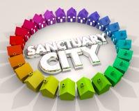 Immigrazione 3d Illus della vicinanza di area del luogo sicuro della città del santuario illustrazione di stock