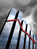Imminent Economic Crisis. An economic thunderstorm approaching behind 3D charts with reflections of a city Royalty Free Stock Photos