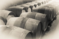 Immitation of vintage photo  of old winemakers cellar Royalty Free Stock Images