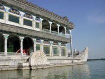 The immobile marble boat on the edge of the Kunming lake. Pic og immobile boat in Kunming Lake in the summer panace outside Beijing Stock Images