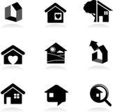 Immobiliën pictogrammen en emblemen stock illustratie
