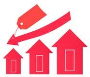Immobiliënmarkt. De daling van de prijs Stock Fotografie