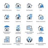 Immobiliarversicherung - blaue Reihe Lizenzfreie Stockbilder