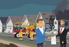 Immobiliarversicherung im Falle des Feuer-Vektor-Konzeptes vektor abbildung