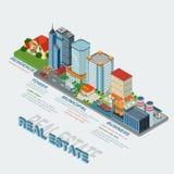 Immobilien der flachen isometrischen Art 3d schreiben infographics Konzept Stockfotografie