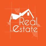 Immobilien der orange Skizze Stockbild