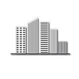 Immobilien-Hochhauslogo des Gebäudearchitekturdesigns Stockbild