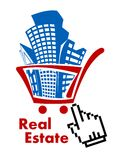 Immobilien im Warenkorb stock abbildung