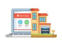 Immobilien, Laptop, der flache Art aufbaut lizenzfreie abbildung