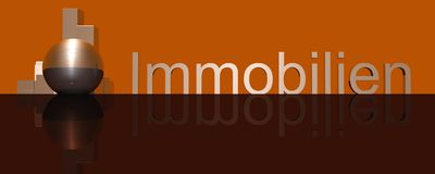 Immobilien Logo. 3d Presentation Business, Logo and Symbol Royalty Free Stock Photos