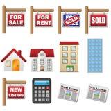 Immobilien-Ikonen Stockbild