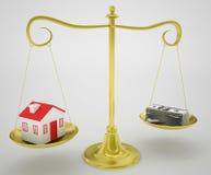 Immobilien und Geld auf Goldskala lizenzfreie abbildung