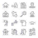 Immobilien verdünnen Ikonen Ikonen eingestellt mit Anschlag Lizenzfreie Stockfotografie