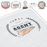 Immobilienagentur Kauf, Verkauf und Beratung Ausführliche Elemente Alter Retro- Weinleseschmutz Modellart typographisch Stockfoto