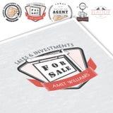 Immobilienagentur Kauf, Verkauf und Beratung Ausführliche Elemente Alter Retro- Weinleseschmutz Modellart typographisch Lizenzfreies Stockbild