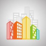 Immobiliendesign, Gebäude und Stadtkonzept, editable Vektor Lizenzfreie Stockbilder