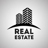 Immobiliendesign, Gebäude und Stadtkonzept, editable Vektor Stockfoto
