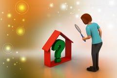 Immobiliengeschäft mit Fragezeichen Stockfoto