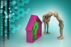 Immobiliengeschäft mit Fragezeichen Lizenzfreies Stockfoto