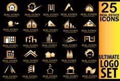 Immobiliengoldlogosatz Stockfotografie