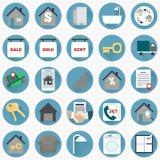Immobilienikonen im flachen Design Vektor Abbildung