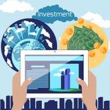 Immobilieninvestition im flachen Konzept des Entwurfes lizenzfreie abbildung