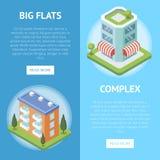 Immobilienkomplex mit großen Ebenenfliegern lizenzfreie abbildung