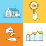 Immobilienkonzepte - Häuser für Verkauf vektor abbildung