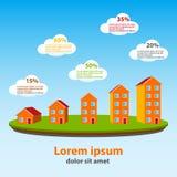 Immobilienkonzeptvektor infographics Lizenzfreie Stockfotografie