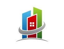 Immobilienlogo, Kreisgebäudewohnungs-Symbolikone Stockfotografie
