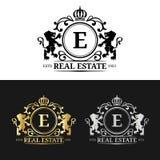 Immobilienmonogrammlogoschablonen des Vektors Luxusbriefgestaltung Würdevolle Weinlesecharaktere mit Kronen- und Löwesymbolen Stockfoto