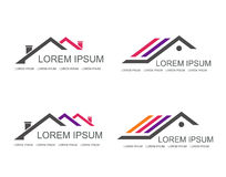 Immobilienvektorlogo-Designschablone Stockbild