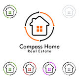 Immobilienvektorlogodesign, Haus mit Kompassillustration Stockfoto