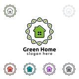 Immobilienvektorlogodesign, Illustration des umweltgerechten Hauses Lizenzfreie Stockfotografie