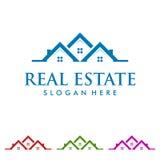 Immobilienvektorlogodesign mit Hauptform Stockfotografie