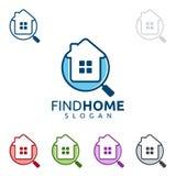 Immobilienvektorlogodesign mit Haus und dem Suchen Stockbild