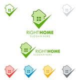 Immobilienvektorlogodesign mit Haus und Kontrolle Stockfoto