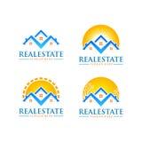 Immobilienvektorlogodesign mit Haus und Sonne formen Lizenzfreie Stockfotografie