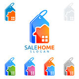 Immobilienvektorlogodesign, Verkaufshauptlogo Lizenzfreies Stockbild