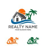 Immobiliers de maison de plage, logo de construction image libre de droits