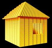 Immobiliers précieux : forme de maison de barres d'or image libre de droits