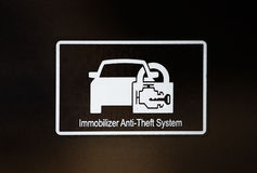Immobilizer sign in car Royalty Free Stock Images