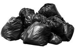 immondizia della borsa del recipiente, recipiente, rifiuti, immondizia, rifiuti, mucchio dei sacchetti di plastica isolato su bia Immagine Stock Libera da Diritti