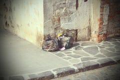 Immondizia lasciata sulla via Fotografia Stock