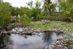 Immondizia nel fiume Fotografie Stock