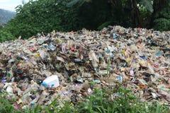 Immondizia nell'inquinamento della natura della foresta Immagine Stock Libera da Diritti