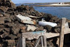 Immondizie in Majanicho in isole Canarie S di Fuerteventura Fotografia Stock