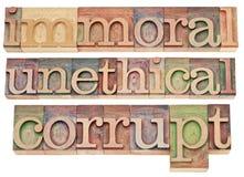Immorale, immorale, corrotto immagini stock libere da diritti